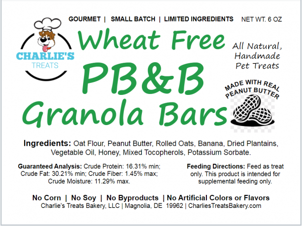 PB&B Granola Bars Small Bag Label