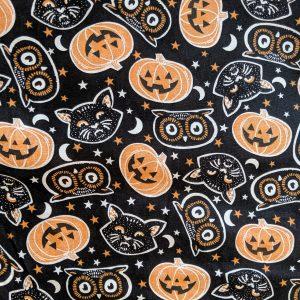 Cats, Owls and Pumpkins on Black Bandana