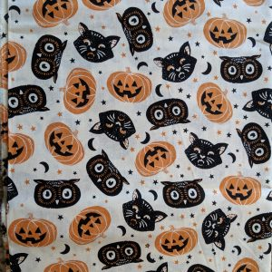 Cats, Owls and Pumpkins on Cream Bandana