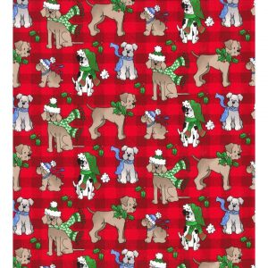 Christmas Dogs on Plaid Bandana